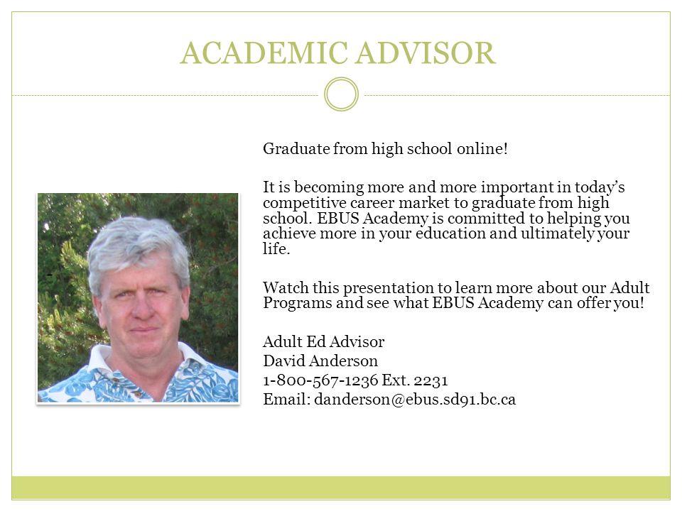 Adult Education Programs Academic Advisor Graduate From High School