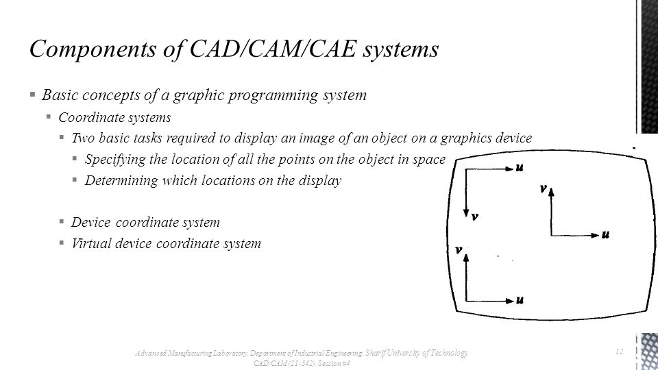 Basic concepts of a graphic programming system Coordinate systems Two basic tasks required to display an image of an object on a graphics device Specifying the location of all the points on the object in space Determining which locations on the display Device coordinate system Virtual device coordinate system Advanced Manufacturing Laboratory, Department of Industrial Engineering, Sharif University of Technology CAD/CAM (21-342), Session #4 12