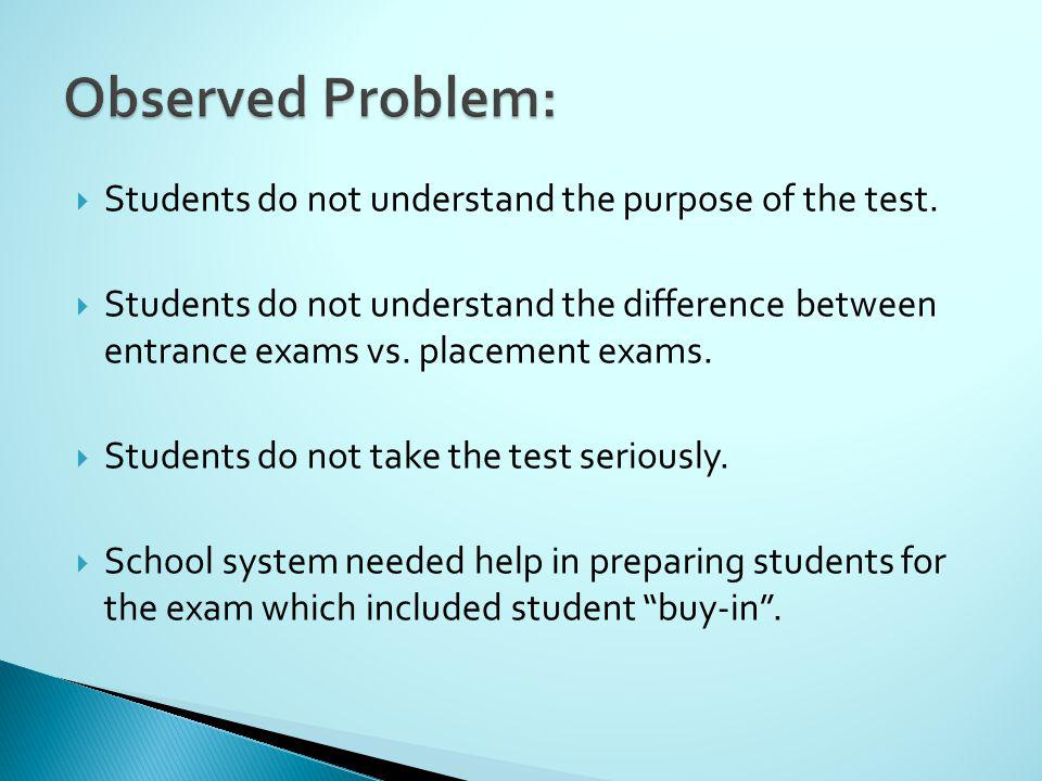 Students do not understand the purpose of the test.