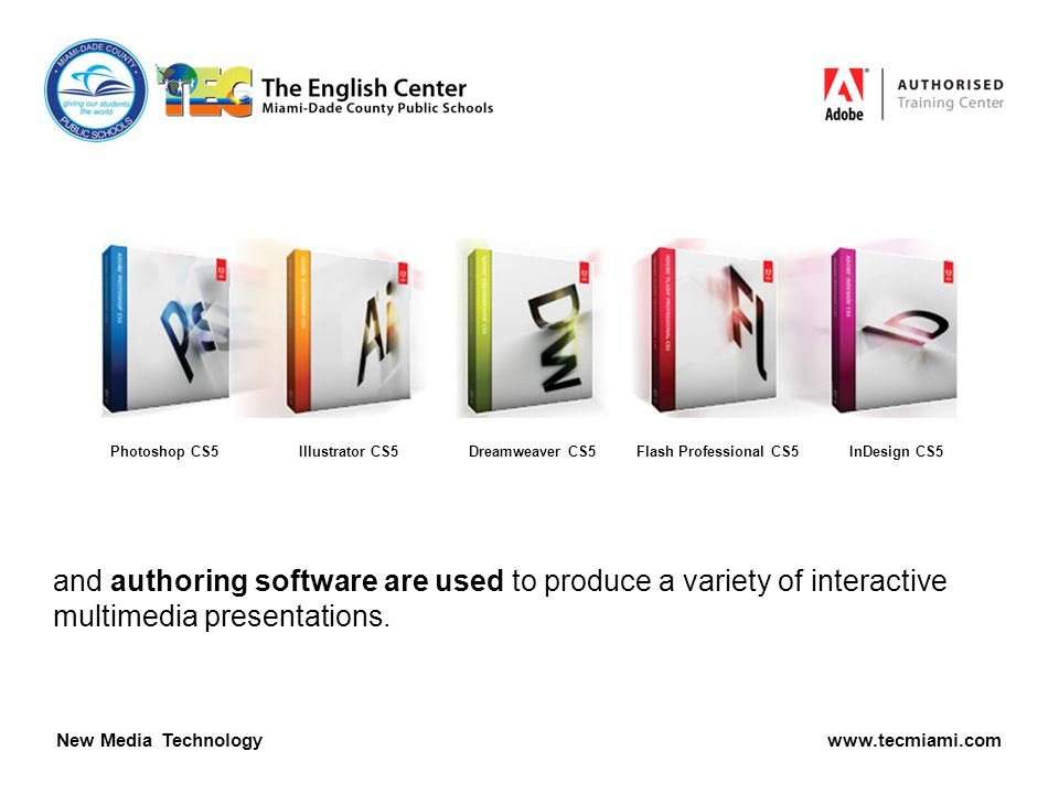 and authoring software are used to produce a variety of interactive multimedia presentations.