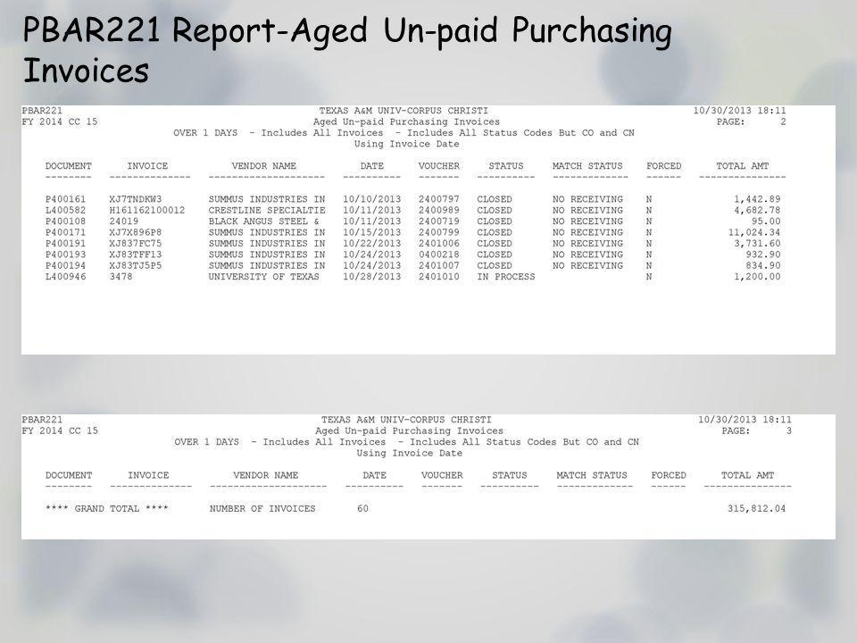 PBAR221 Report-Aged Un-paid Purchasing Invoices