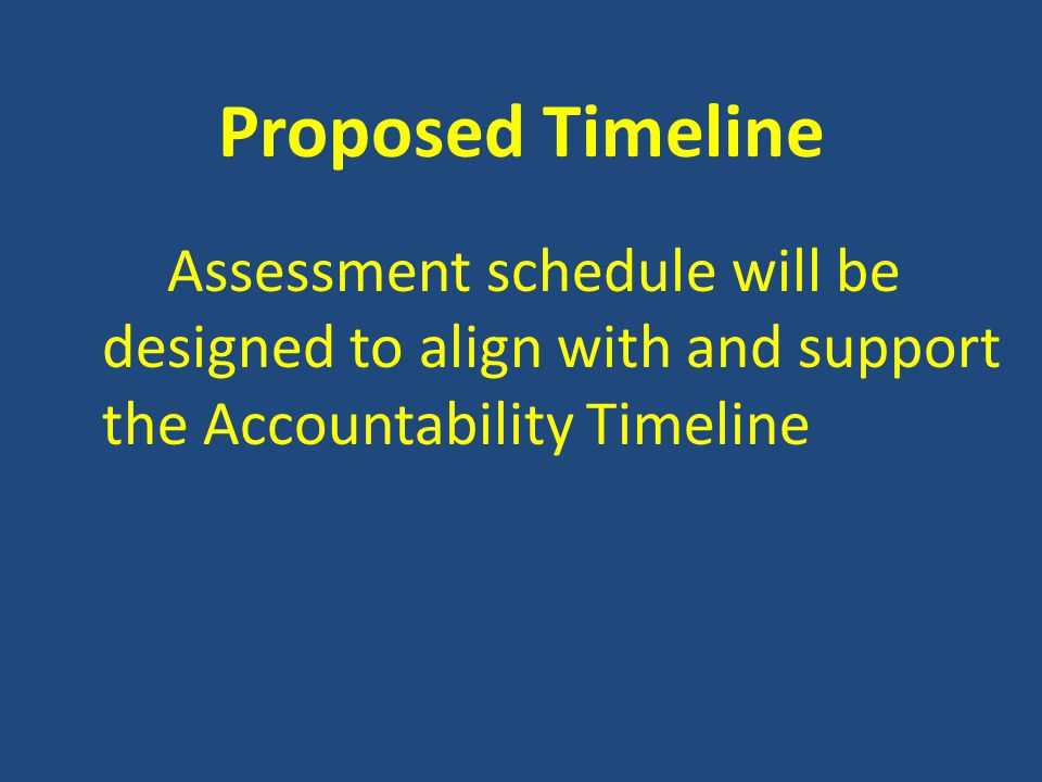 Proposed Timeline Assessment schedule will be designed to align with and support the Accountability Timeline