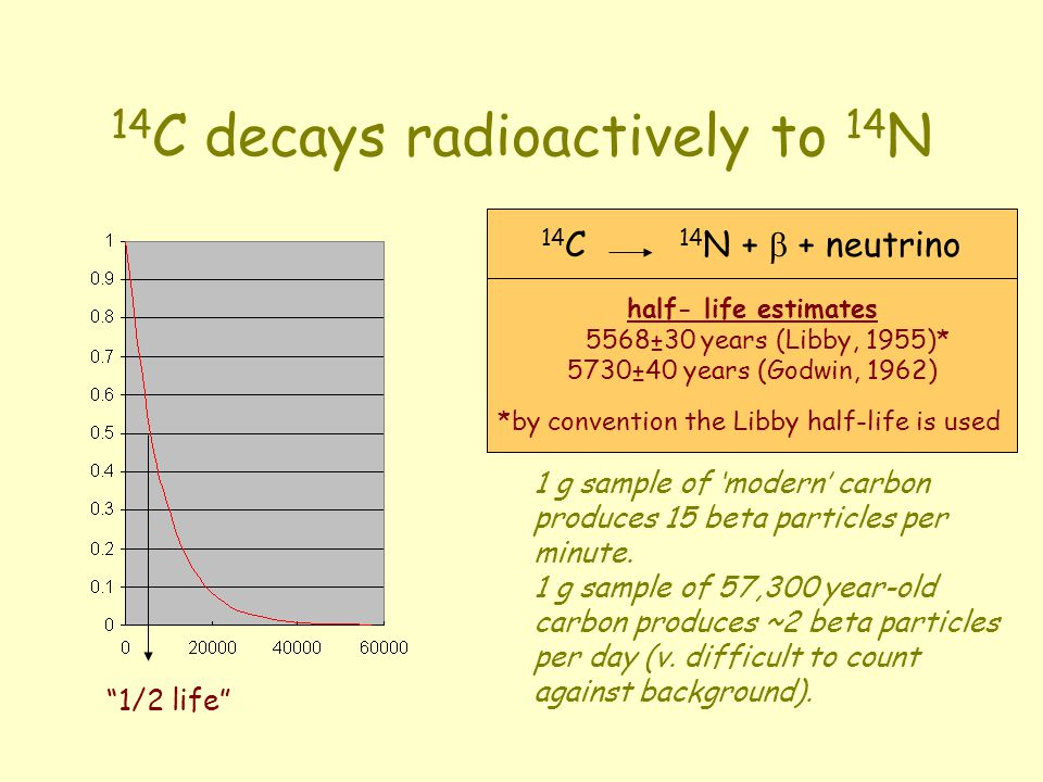 14 C decays radioactively to 14 N half- life estimates 5568±30 years (Libby, 1955)* 5730±40 years (Godwin, 1962) 14 C 14 N + + neutrino 1 g sample of modern carbon produces 15 beta particles per minute.