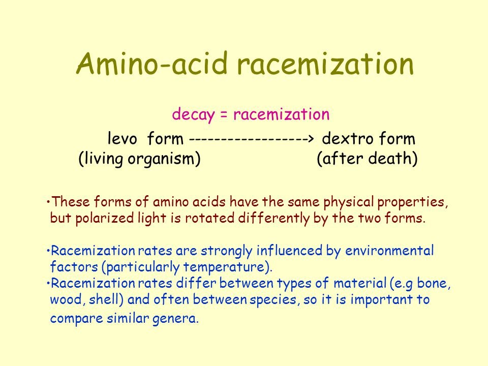 Amino-acid racemization These forms of amino acids have the same physical properties, but polarized light is rotated differently by the two forms.