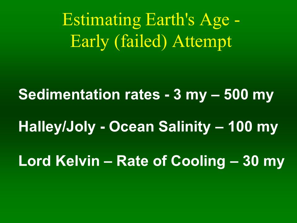 Estimating Earth s Age - Early (failed) Attempt Sedimentation rates - 3 my – 500 my Halley/Joly - Ocean Salinity – 100 my Lord Kelvin – Rate of Cooling – 30 my