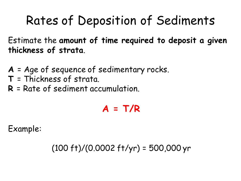 Rates of Deposition of Sediments Estimate the amount of time required to deposit a given thickness of strata.