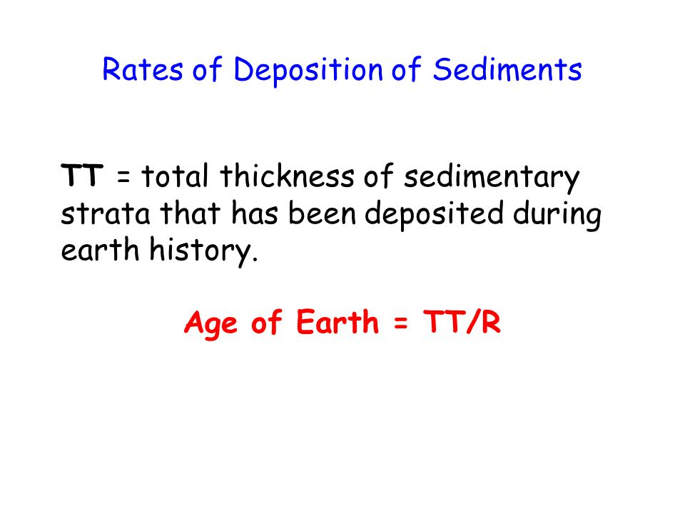 Rates of Deposition of Sediments TT = total thickness of sedimentary strata that has been deposited during earth history.