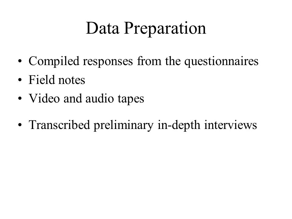 Data Preparation Compiled responses from the questionnaires Field notes Video and audio tapes Transcribed preliminary in-depth interviews