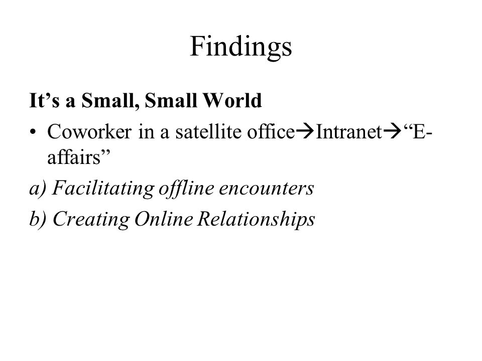 Findings Its a Small, Small World Coworker in a satellite office Intranet E- affairs a) Facilitating offline encounters b) Creating Online Relationships