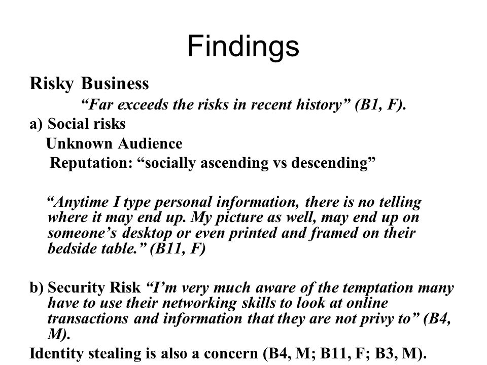 Findings Risky Business Far exceeds the risks in recent history (B1, F).