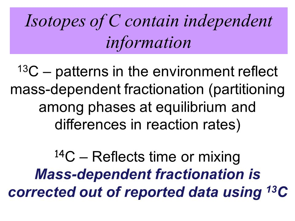 13 C – patterns in the environment reflect mass-dependent fractionation (partitioning among phases at equilibrium and differences in reaction rates) 14 C – Reflects time or mixing Mass-dependent fractionation is corrected out of reported data using 13 C Isotopes of C contain independent information