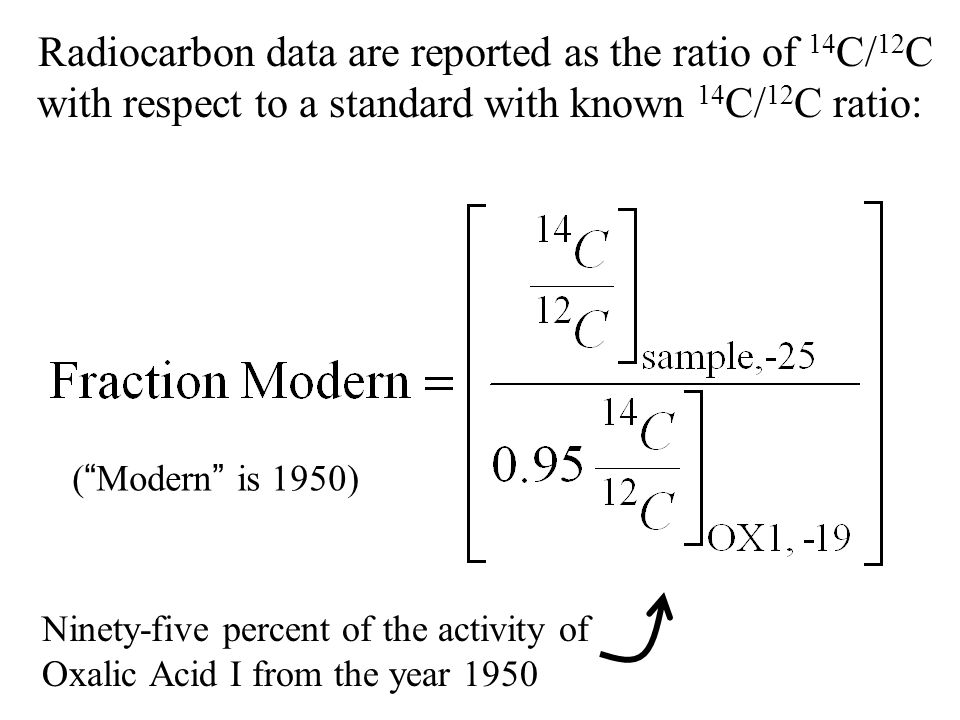 Radiocarbon data are reported as the ratio of 14 C/ 12 C with respect to a standard with known 14 C/ 12 C ratio: Ninety-five percent of the activity of Oxalic Acid I from the year 1950 (Modern is 1950)