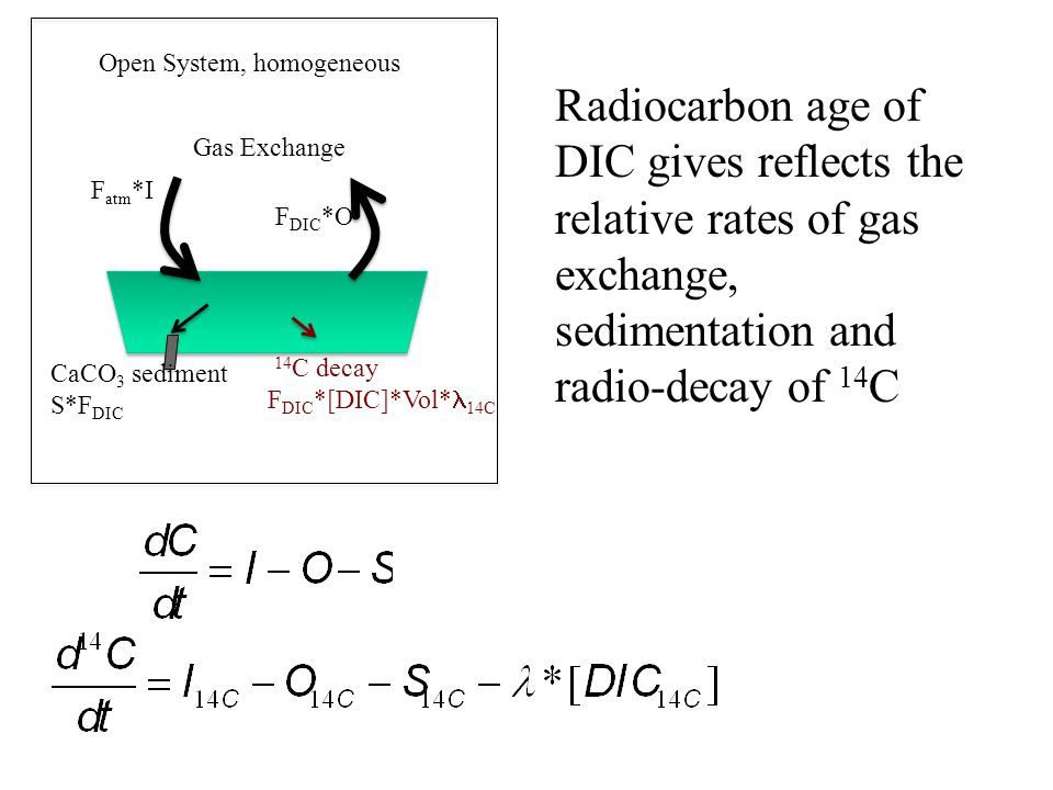 F atm *I F DIC *O 14 C decay F DIC *[DIC]*Vol* 14C Open System, homogeneous Gas Exchange CaCO 3 sediment S*F DIC Radiocarbon age of DIC gives reflects the relative rates of gas exchange, sedimentation and radio-decay of 14 C