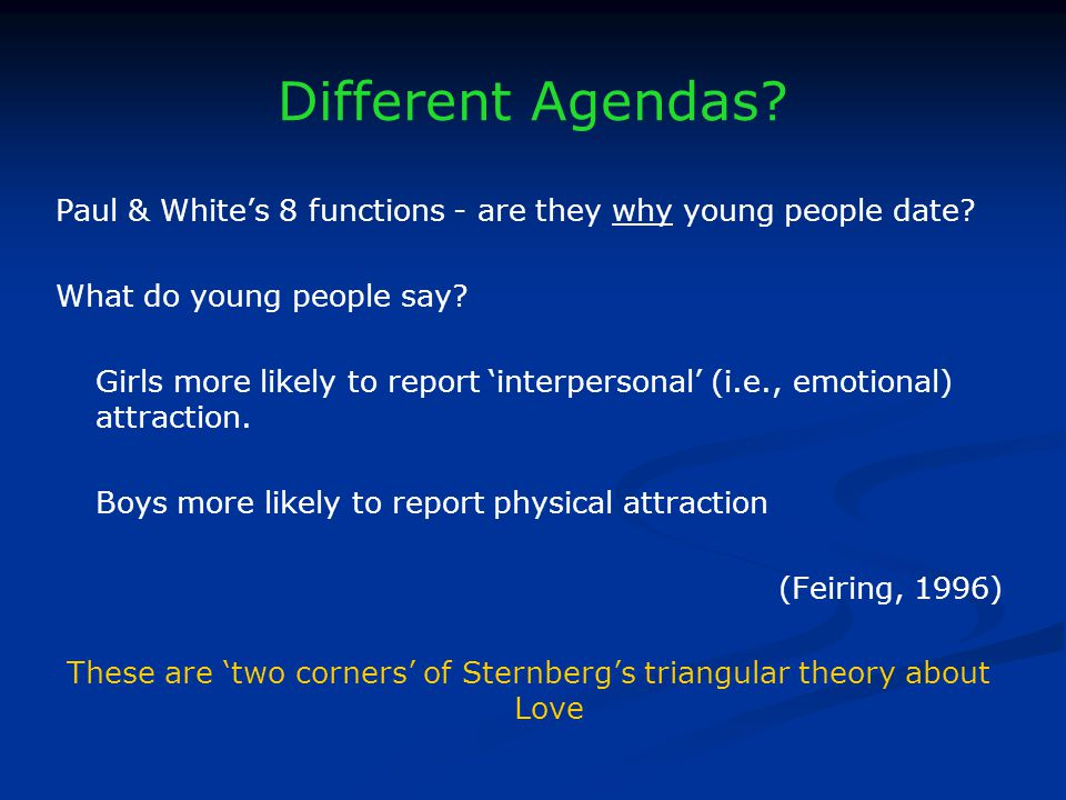 Different Agendas. Paul & Whites 8 functions - are they why young people date.
