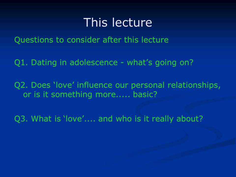 This lecture Questions to consider after this lecture Q1.