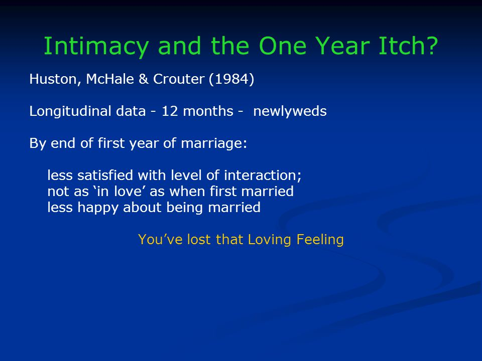 Intimacy and the One Year Itch.