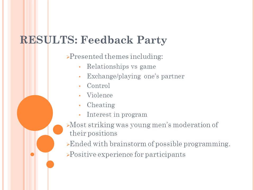 RESULTS: Feedback Party Presented themes including: Relationships vs game Exchange/playing ones partner Control Violence Cheating Interest in program Most striking was young mens moderation of their positions Ended with brainstorm of possible programming.