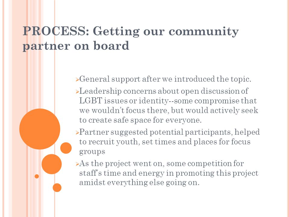PROCESS: Getting our community partner on board General support after we introduced the topic.