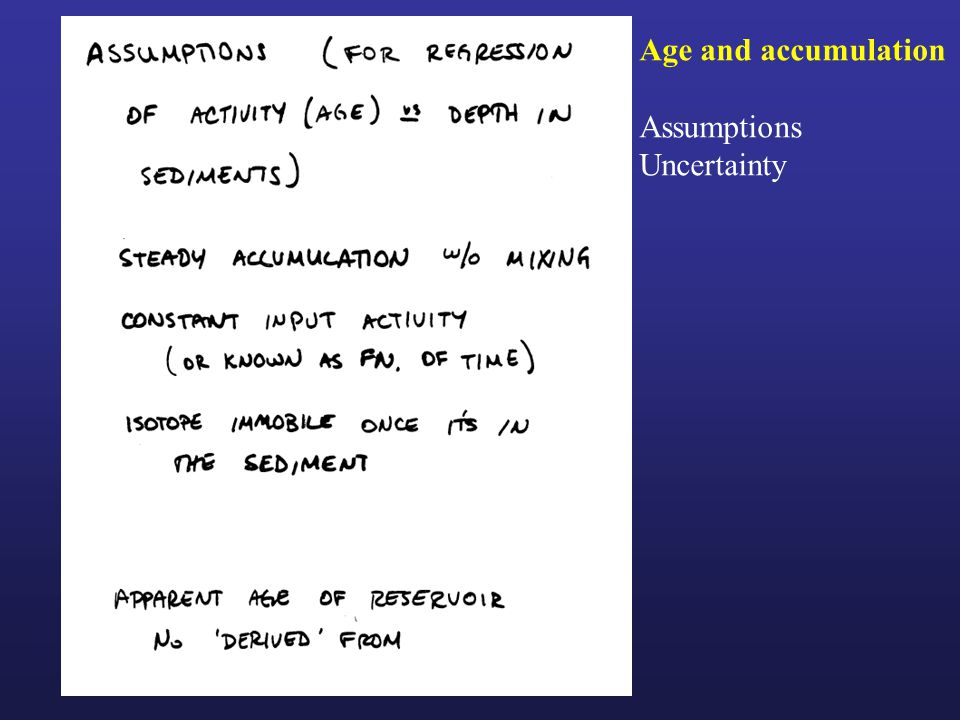 Age and accumulation Assumptions Uncertainty