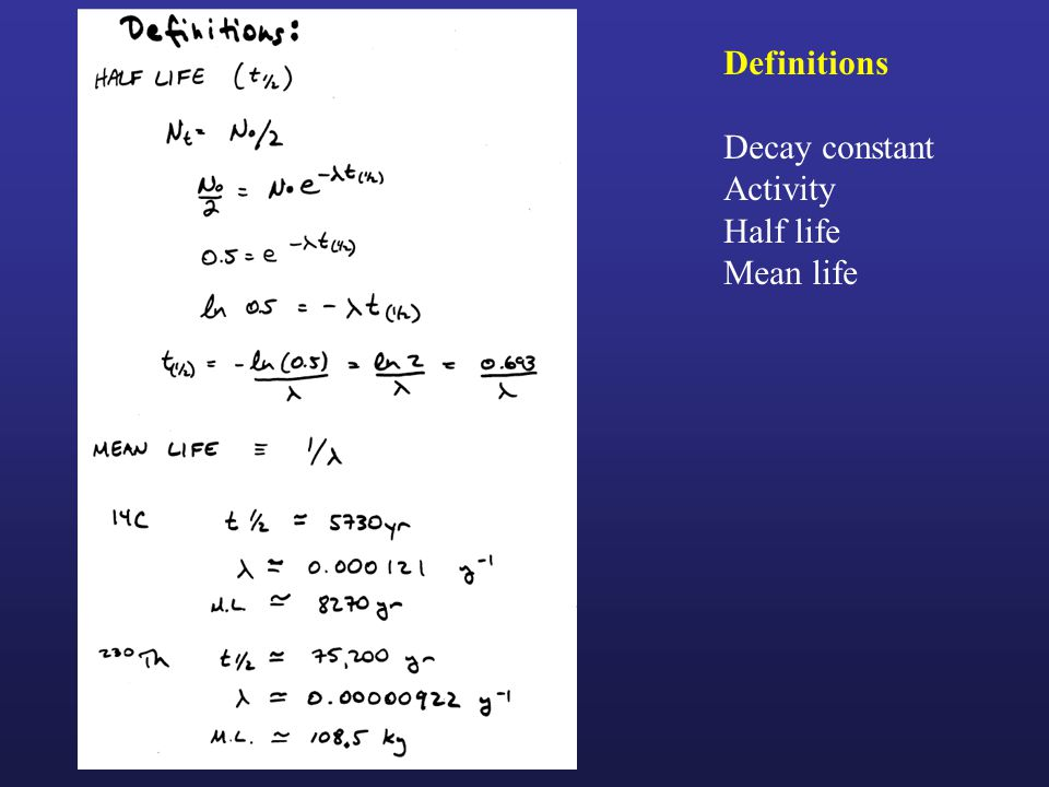 Definitions Decay constant Activity Half life Mean life