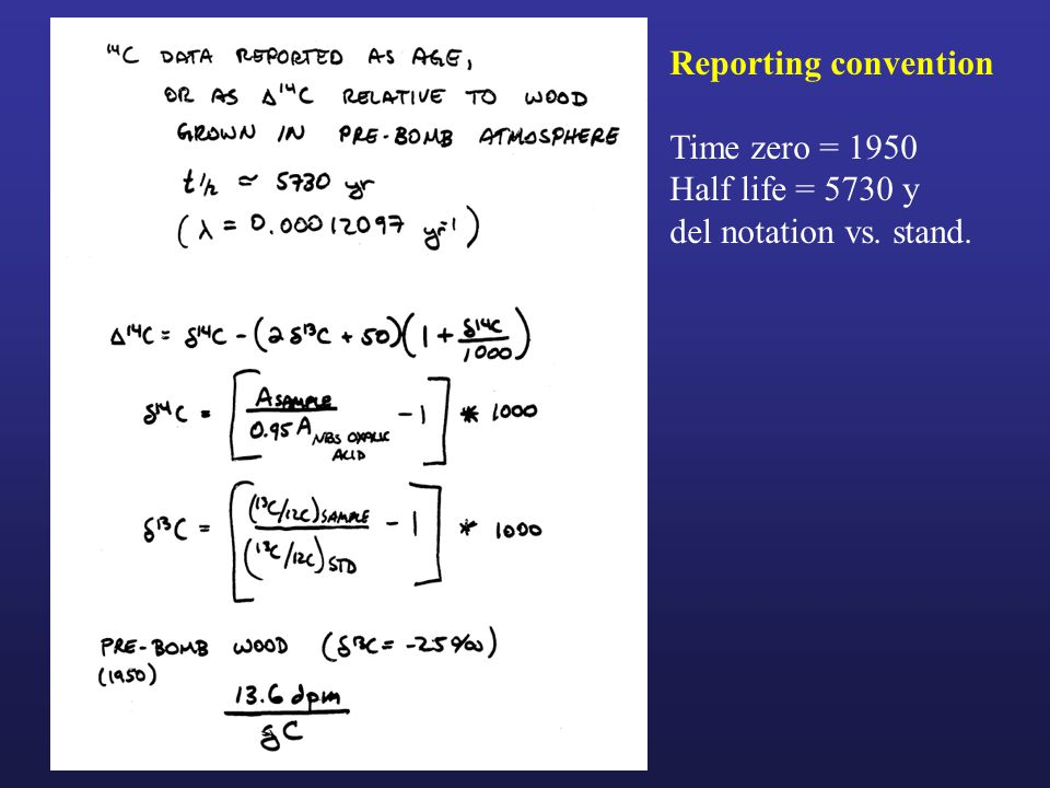 Reporting convention Time zero = 1950 Half life = 5730 y del notation vs. stand.