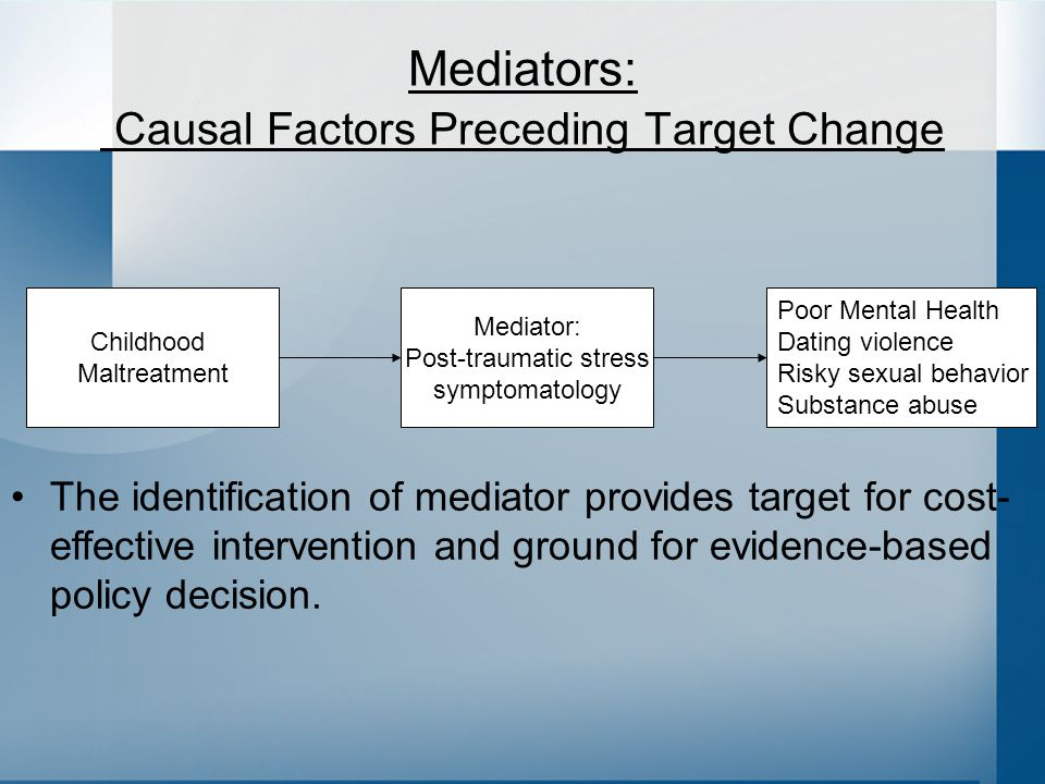 Childhood Maltreatment Mediator: Post-traumatic stress symptomatology Poor Mental Health Dating violence Risky sexual behavior Substance abuse Mediators: Causal Factors Preceding Target Change The identification of mediator provides target for cost- effective intervention and ground for evidence-based policy decision.