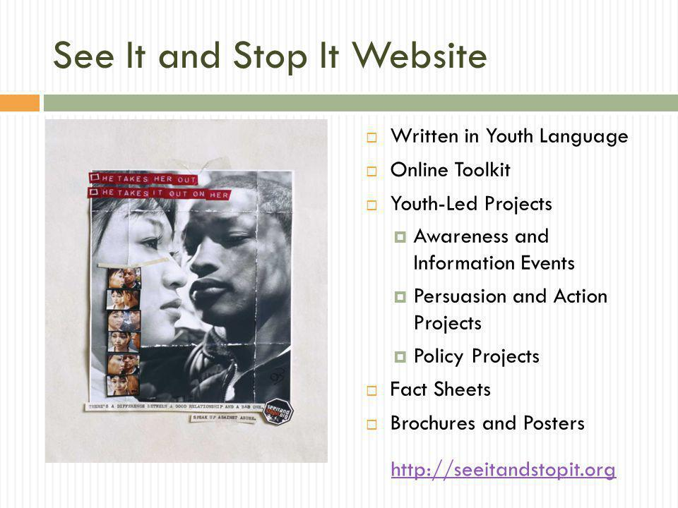 See It and Stop It Website Written in Youth Language Online Toolkit Youth-Led Projects Awareness and Information Events Persuasion and Action Projects Policy Projects Fact Sheets Brochures and Posters http://seeitandstopit.org