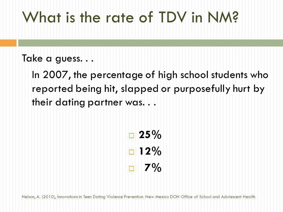 What is the rate of TDV in NM. Take a guess...