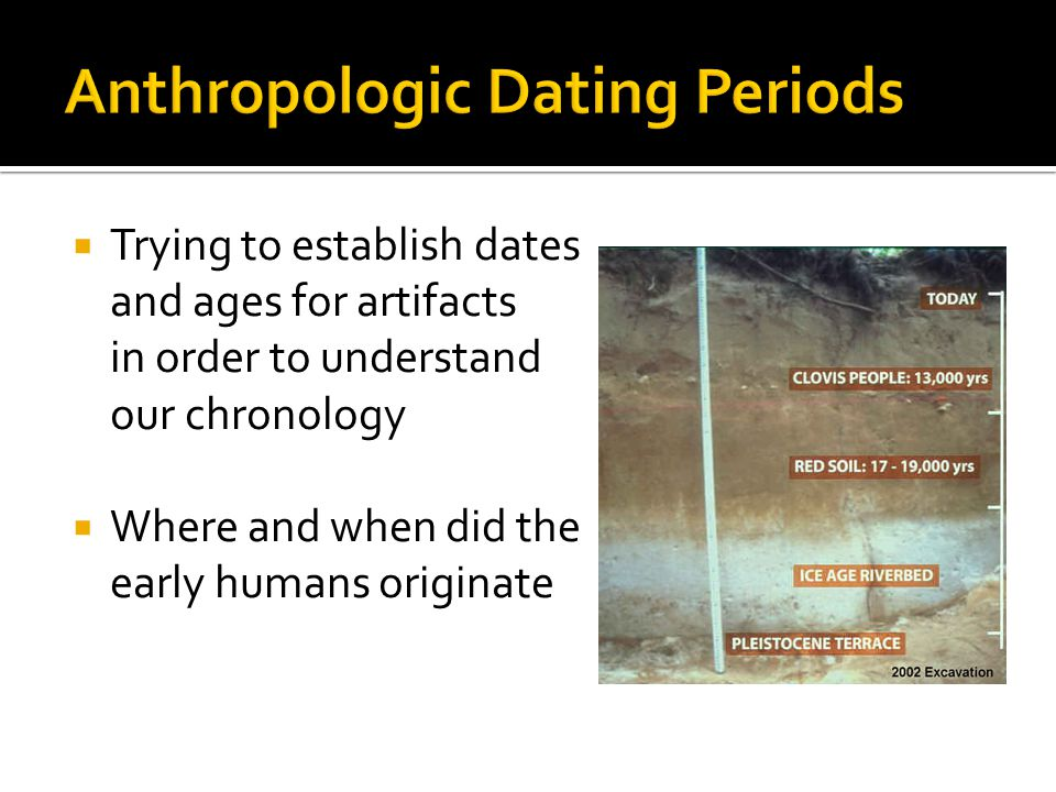 Trying to establish dates and ages for artifacts in order to understand our chronology Where and when did the early humans originate