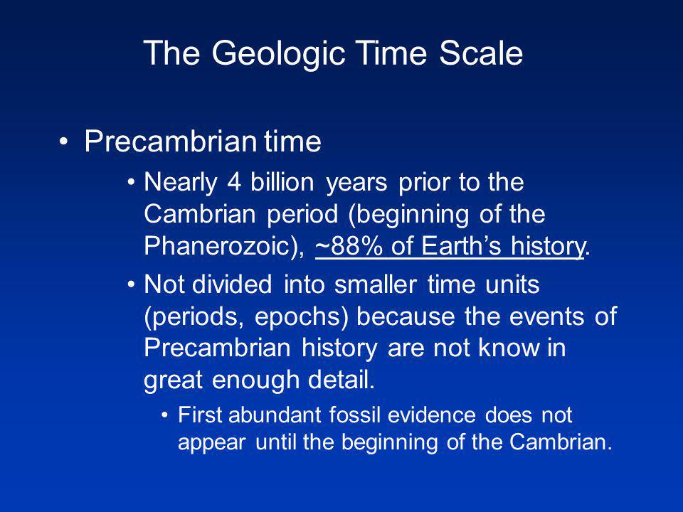 Precambrian time Nearly 4 billion years prior to the Cambrian period (beginning of the Phanerozoic), ~88% of Earths history.