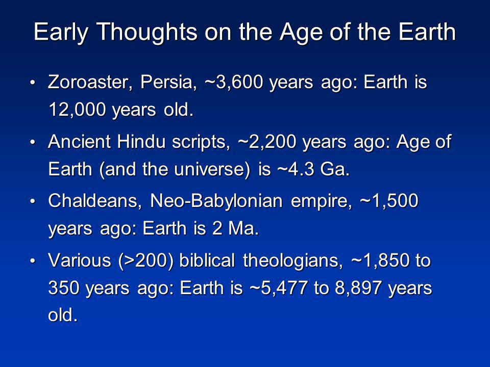 Early Thoughts on the Age of the Earth Zoroaster, Persia, ~3,600 years ago: Earth is 12,000 years old.