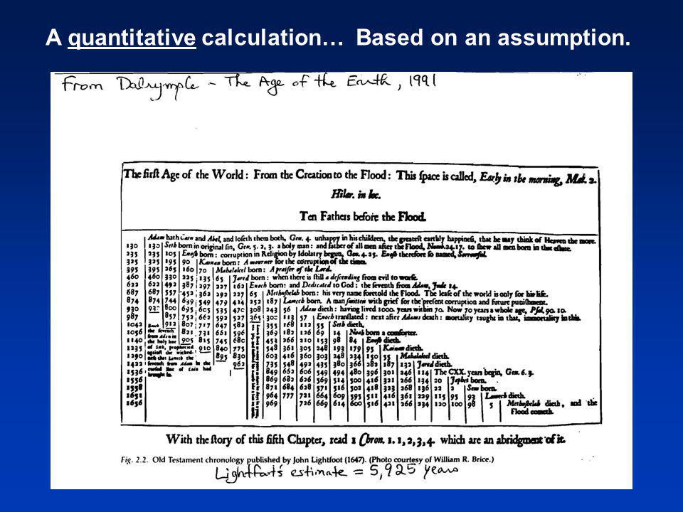 A quantitative calculation… Based on an assumption.