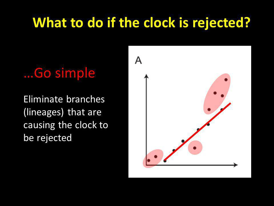 …Go simple Eliminate branches (lineages) that are causing the clock to be rejected What to do if the clock is rejected