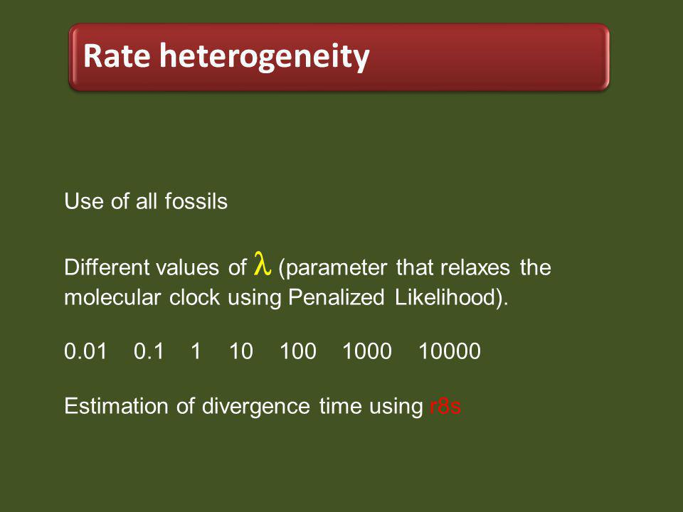 Use of all fossils Different values of (parameter that relaxes the molecular clock using Penalized Likelihood).