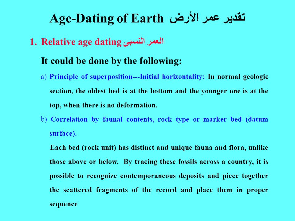 1.Relative age dating العمر النسبى It could be done by the following: a) Principle of superposition---Initial horizontality: In normal geologic section, the oldest bed is at the bottom and the younger one is at the top, when there is no deformation.