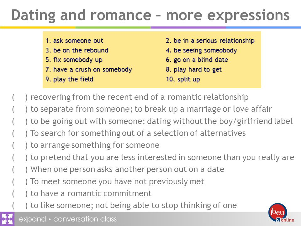 Dating and romance – more expressions 1. ask someone out2.
