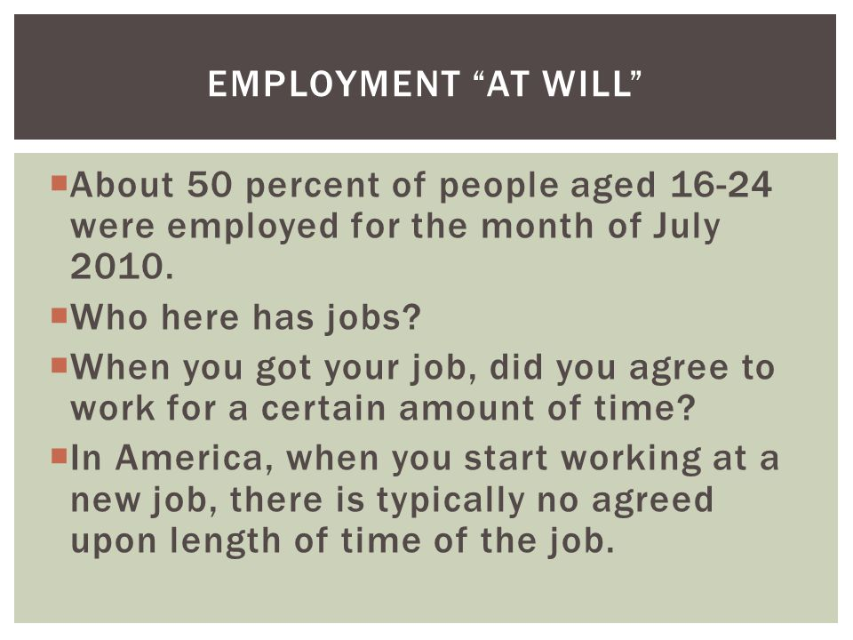 About 50 percent of people aged 16-24 were employed for the month of July 2010.