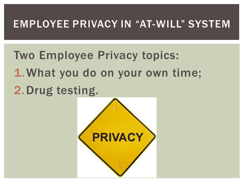 Two Employee Privacy topics: 1.What you do on your own time; 2.Drug testing.