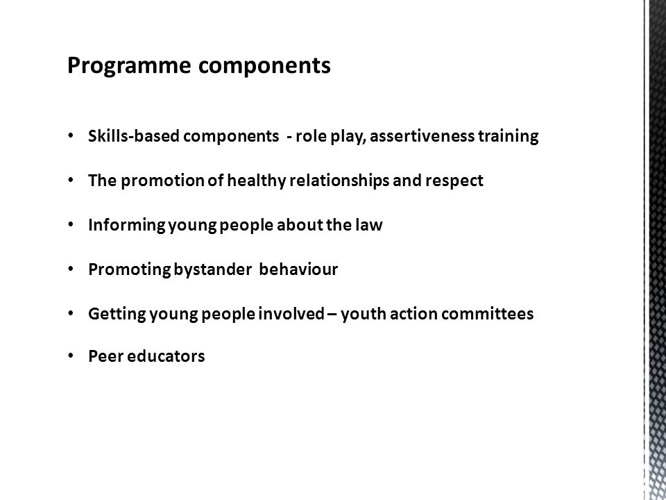 Programme components Skills-based components - role play, assertiveness training The promotion of healthy relationships and respect Informing young people about the law Promoting bystander behaviour Getting young people involved – youth action committees Peer educators