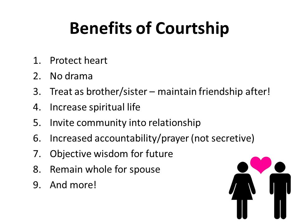 Benefits of Courtship 1.Protect heart 2.No drama 3.Treat as brother/sister – maintain friendship after.