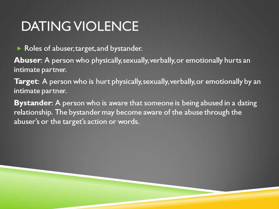DATING VIOLENCE Roles of abuser, target, and bystander.