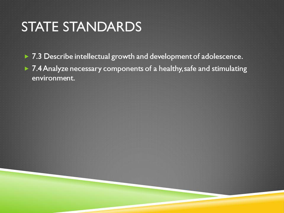STATE STANDARDS 7.3 Describe intellectual growth and development of adolescence.