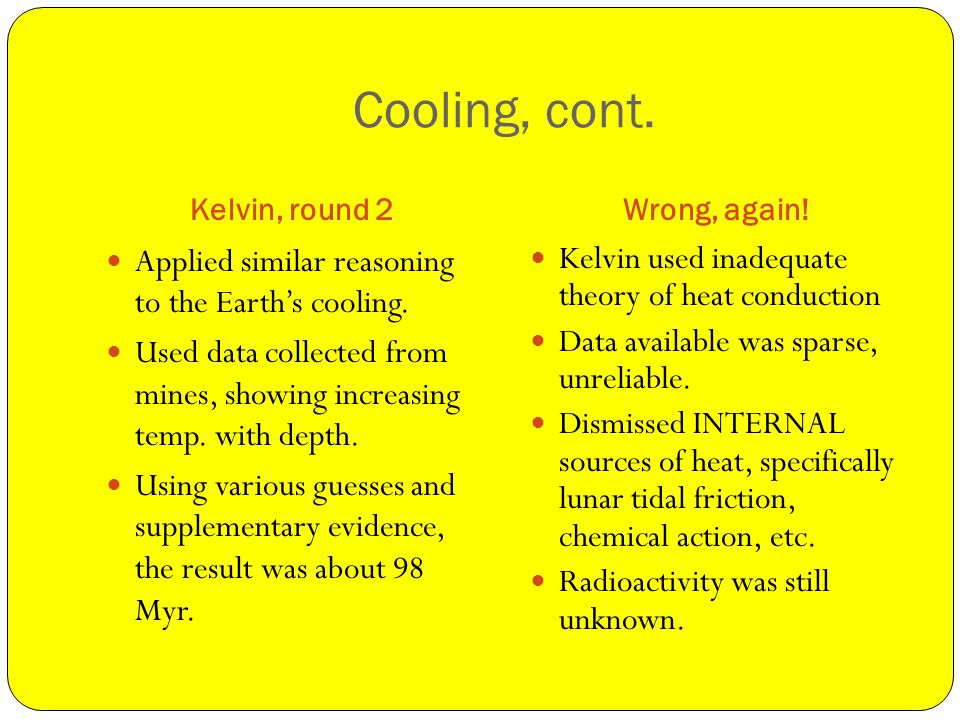 Cooling, cont. Kelvin, round 2Wrong, again. Applied similar reasoning to the Earths cooling.