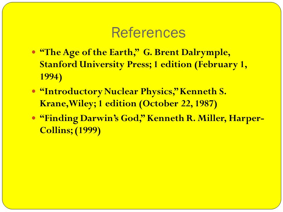 References The Age of the Earth, G.