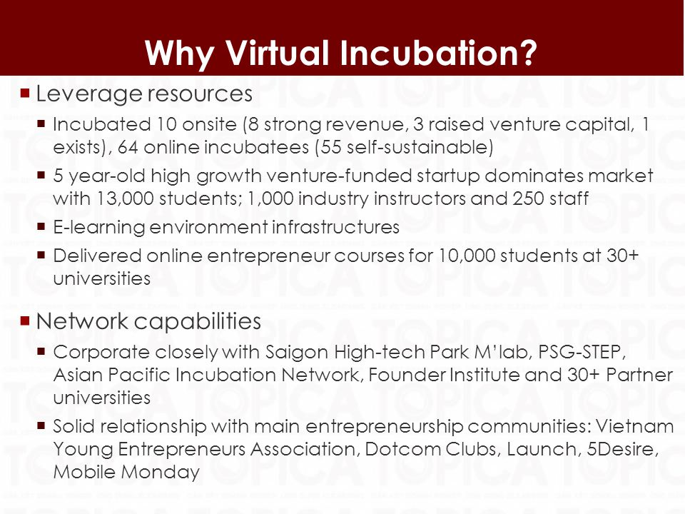 Leverage resources Incubated 10 onsite (8 strong revenue, 3 raised venture capital, 1 exists), 64 online incubatees (55 self-sustainable) 5 year-old high growth venture-funded startup dominates market with 13,000 students; 1,000 industry instructors and 250 staff E-learning environment infrastructures Delivered online entrepreneur courses for 10,000 students at 30+ universities Network capabilities Corporate closely with Saigon High-tech Park Mlab, PSG-STEP, Asian Pacific Incubation Network, Founder Institute and 30+ Partner universities Solid relationship with main entrepreneurship communities: Vietnam Young Entrepreneurs Association, Dotcom Clubs, Launch, 5Desire, Mobile Monday 13 Why Virtual Incubation
