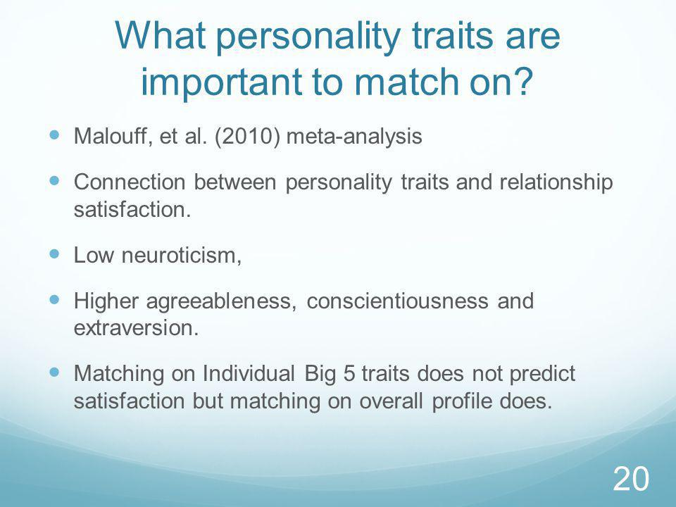 What personality traits are important to match on.