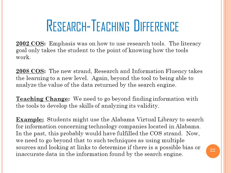 R ESEARCH -T EACHING D IFFERENCE 2002 COS: Emphasis was on how to use research tools.