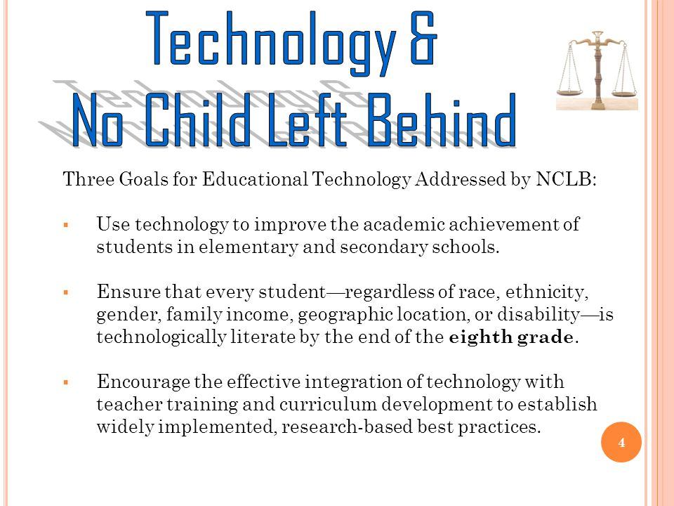 Three Goals for Educational Technology Addressed by NCLB: Use technology to improve the academic achievement of students in elementary and secondary schools.