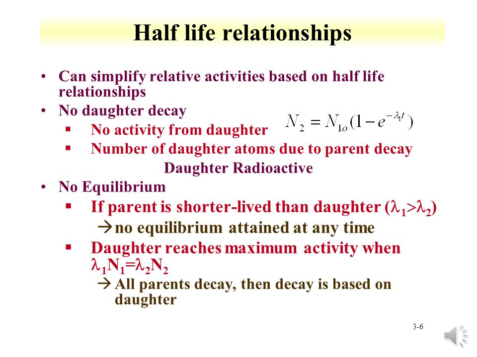 3-5 Parent daughter relationship Find N, can solve equation for activity from A= Find maximum daughter activity based on dN/dt=0 Solve for t For 99m Tc (t 1/2 =6.01 h) from 99 Mo (2.75 d), find time for maximum daughter activity Tc =2.8 d -1, Mo =0.25 d -1