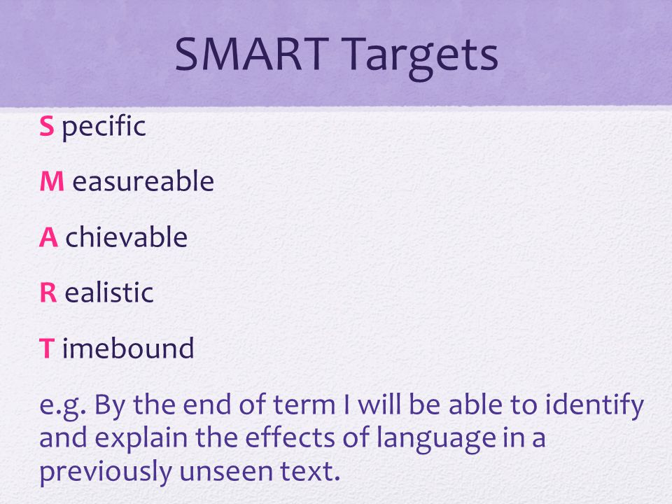 SMART Targets S pecific M easureable A chievable R ealistic T imebound e.g.